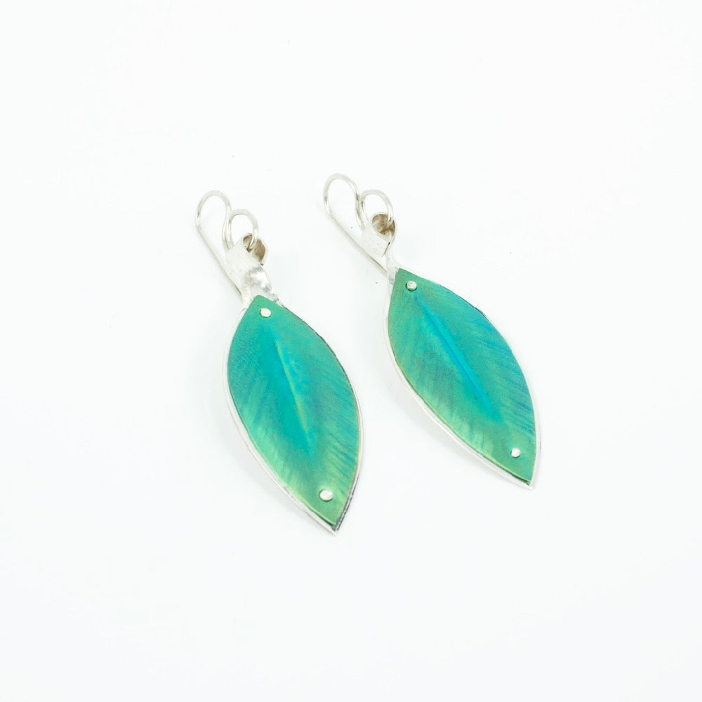 RB47: Pohutukawa leaf earrings