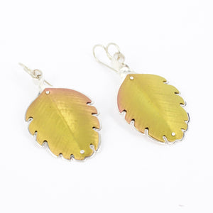RB91: Beech leaf earrings - blush gold