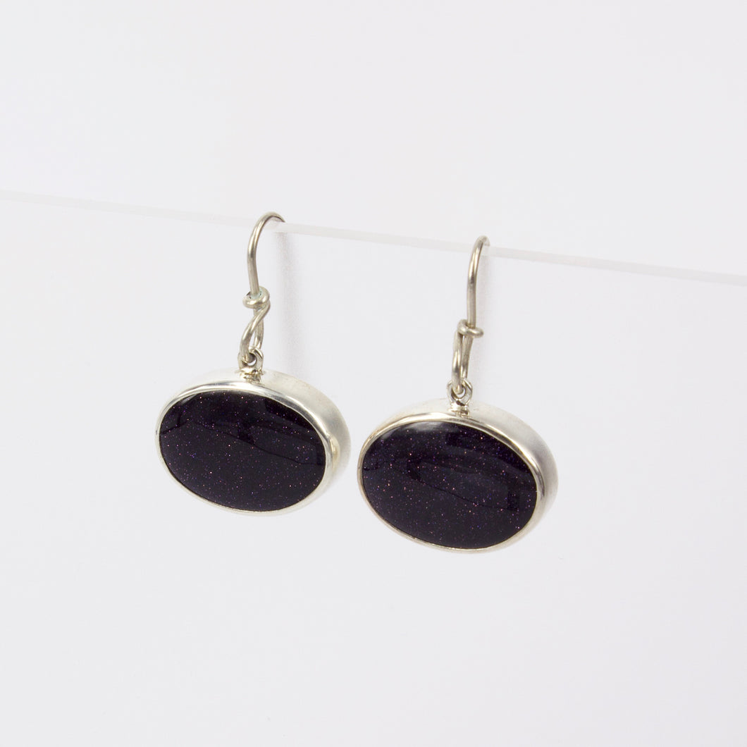 RW267: Purple goldstone drop earrings