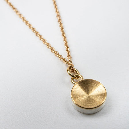 ZR04: Concave drop necklace - 22ct gold and stg silver