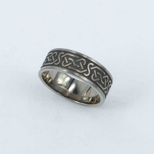 TD44: Celtic engraved titanium ring
