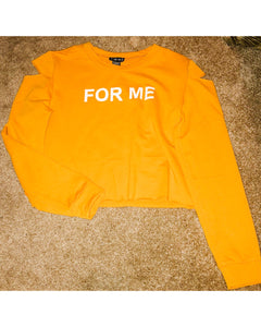 "Long-sleeve, cold shoulder sweater with ""FOR ME"" graphic print"