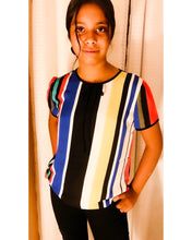 Load image into Gallery viewer, Short sleeve, sheer chiffon blouse with contrast trim and neck line.