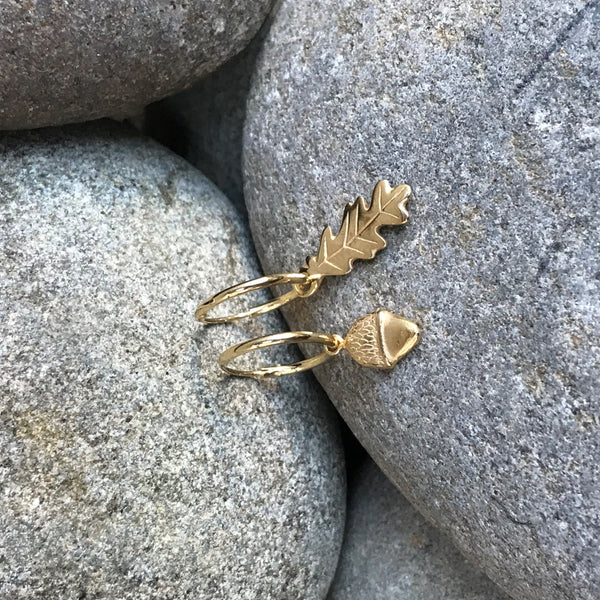 Woodland Sleeper Earrings Silver or Gold Vermeil