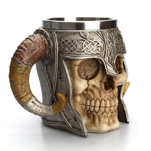 Stainless Steel Viking Ram Horn Warrior Mug - theprimelabel