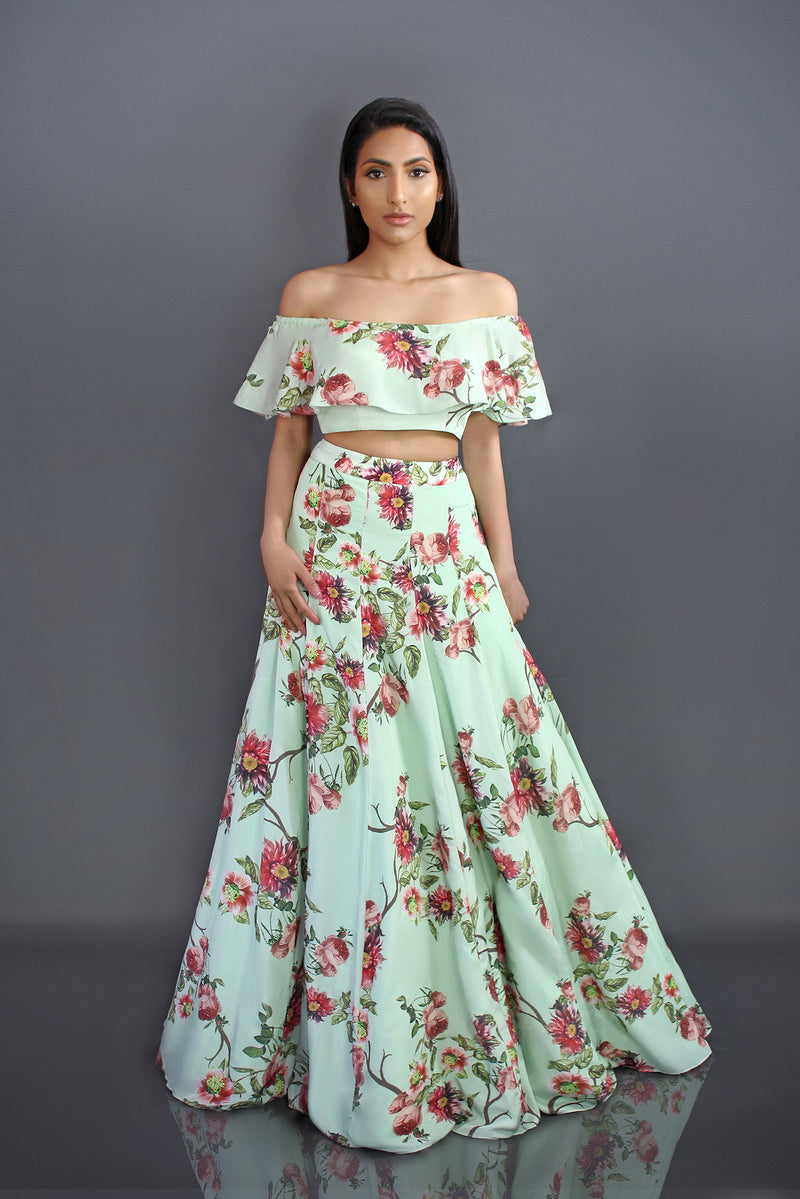 Mint Floral Off shoulder lehenga | Designer Studio London - ds-london.myshopify.com