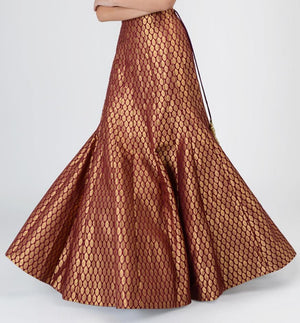 CLEARANCE SIZE 10 (36) and SIZE 14 (40) ONLY Wine sleevless top and brocade fishtail skirt with wine dupatta | Designer Studio London - ds-london.myshopify.com
