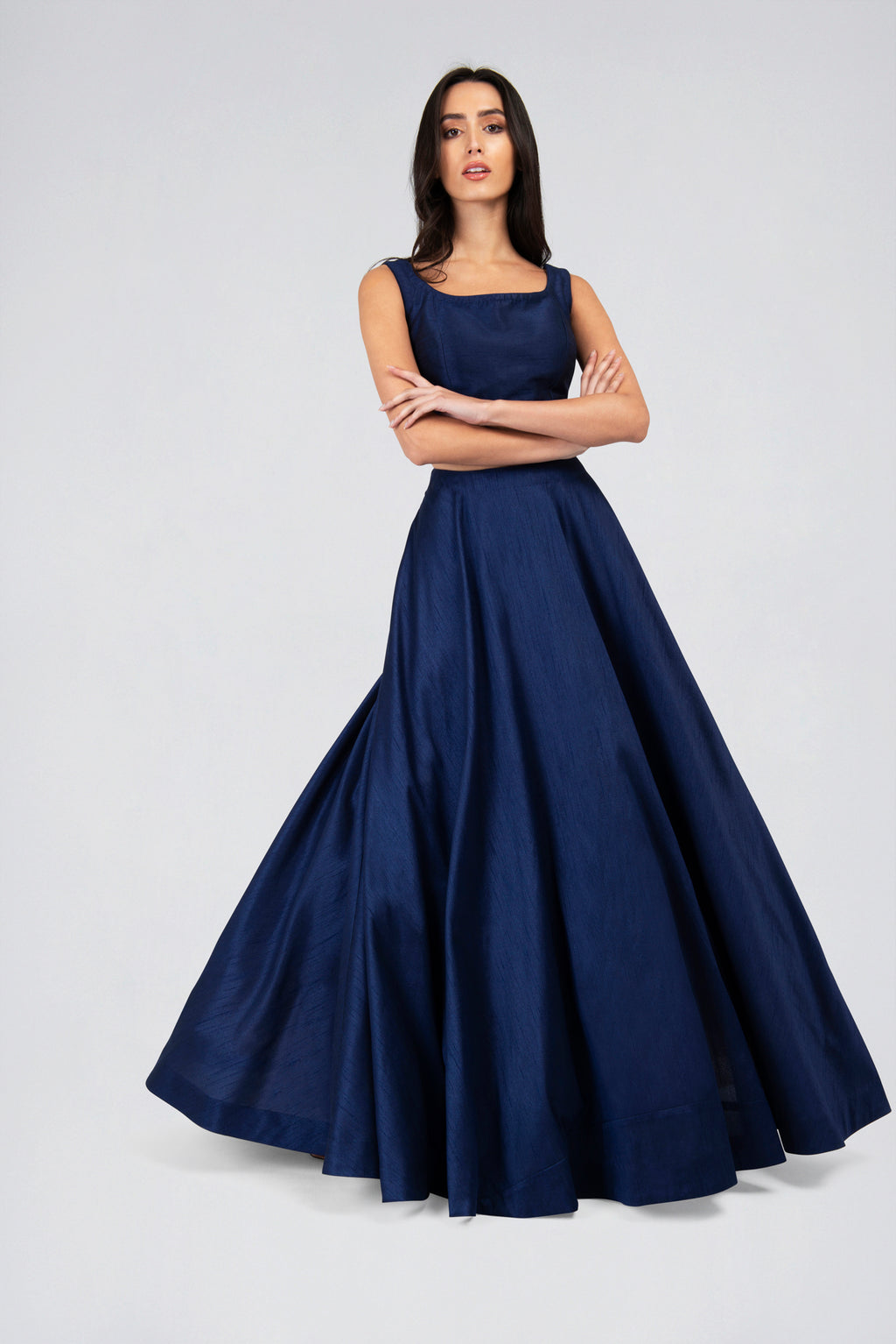 Navy Blue Sleeveless Blouse and Round flare Skirt Lehenga Set | Designer Studio London - ds-london.myshopify.com