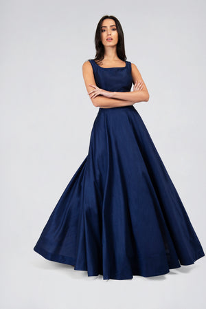 SIZE 6(32), 8(34), 10(36), 12(38) Navy Blue Sleeveless Blouse and Round flare Skirt Lehenga 2 piece Set | Designer Studio London - ds-london.myshopify.com