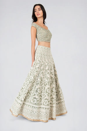Vintage Chic Mint Lehenga - Designer Studio London