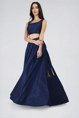 Anya Navy Flared skirt | Designer Studio London - ds-london.myshopify.com