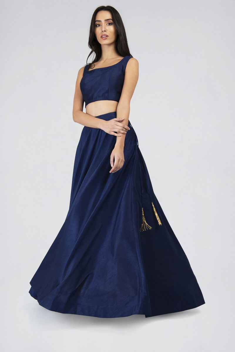 Anya Navy Flared skirt - Designer Studio London