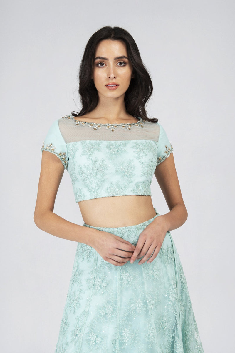 Mint Lace Cap Sleeve Blouse | Designer Studio London - ds-london.myshopify.com