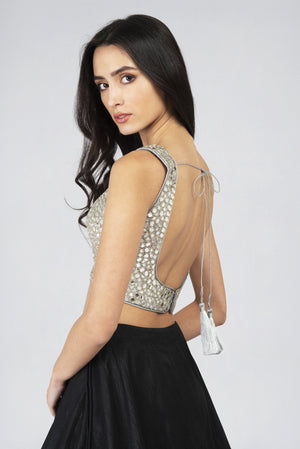 Sleeveless Mirrorwork blouse SILVER | Designer Studio London - ds-london.myshopify.com