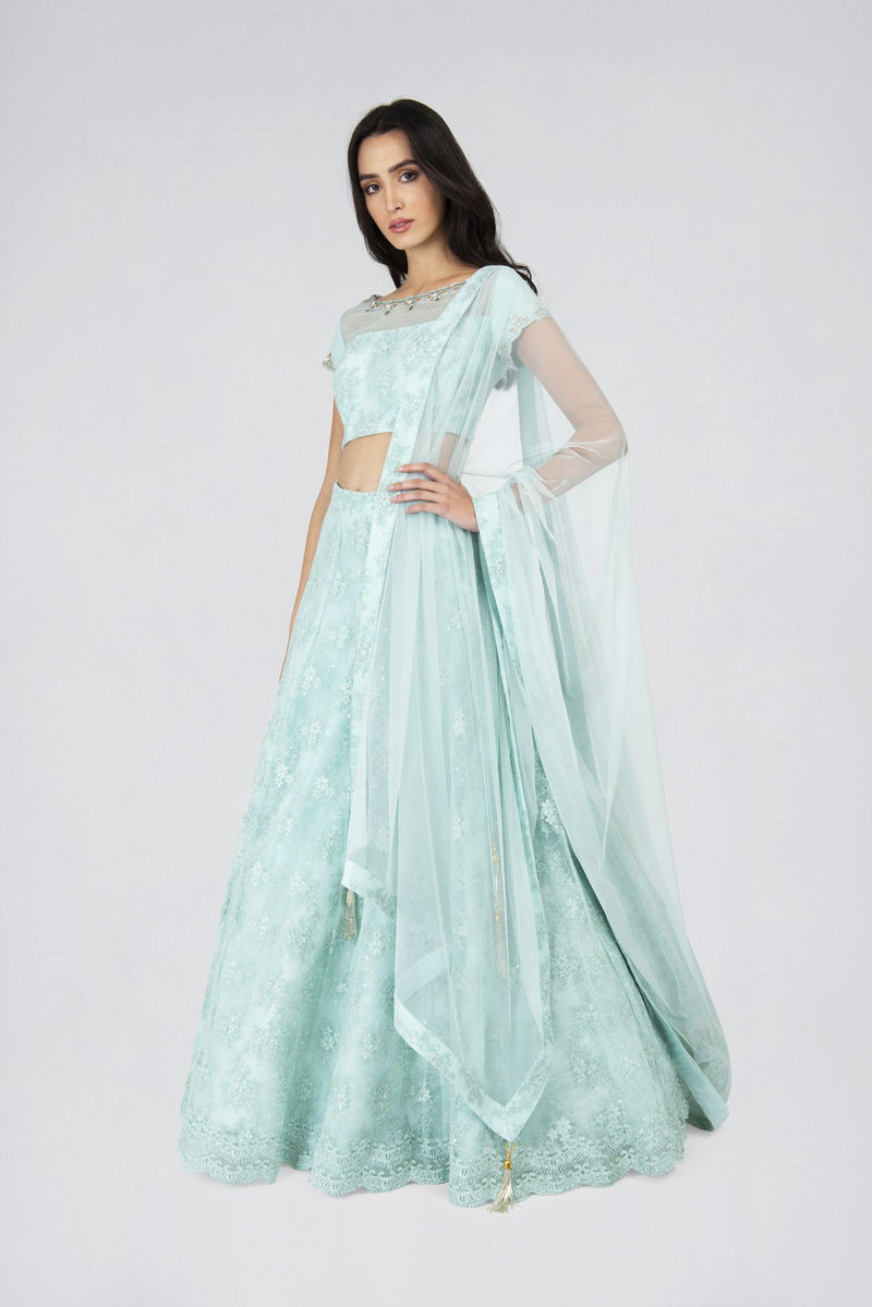 Mia Lace Lehenga skirt with blouse and lace edge dupatta MINT | Designer Studio London - ds-london.myshopify.com