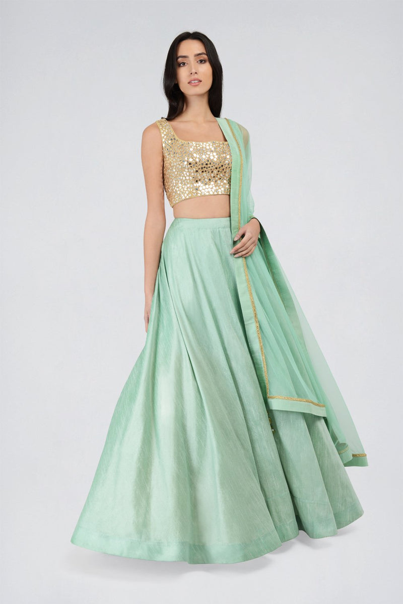 Anya Sea Green Flared skirt - Designer Studio London