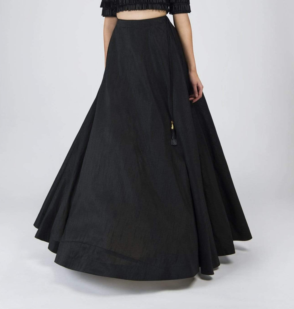 Anya Black Flared skirt | Designer Studio London - ds-london.myshopify.com