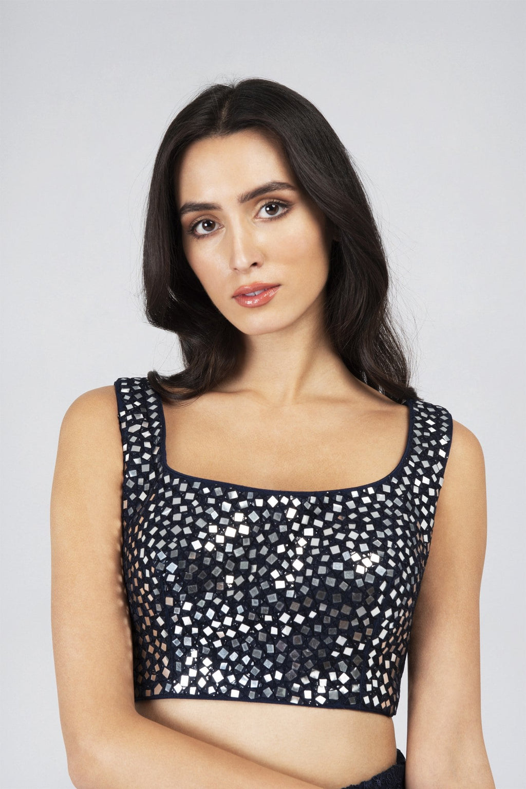 Sleeveless Mirrorwork blouse NAVY | Designer Studio London - ds-london.myshopify.com
