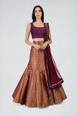 Wine Brocade fishtail skirt | Designer Studio London - ds-london.myshopify.com