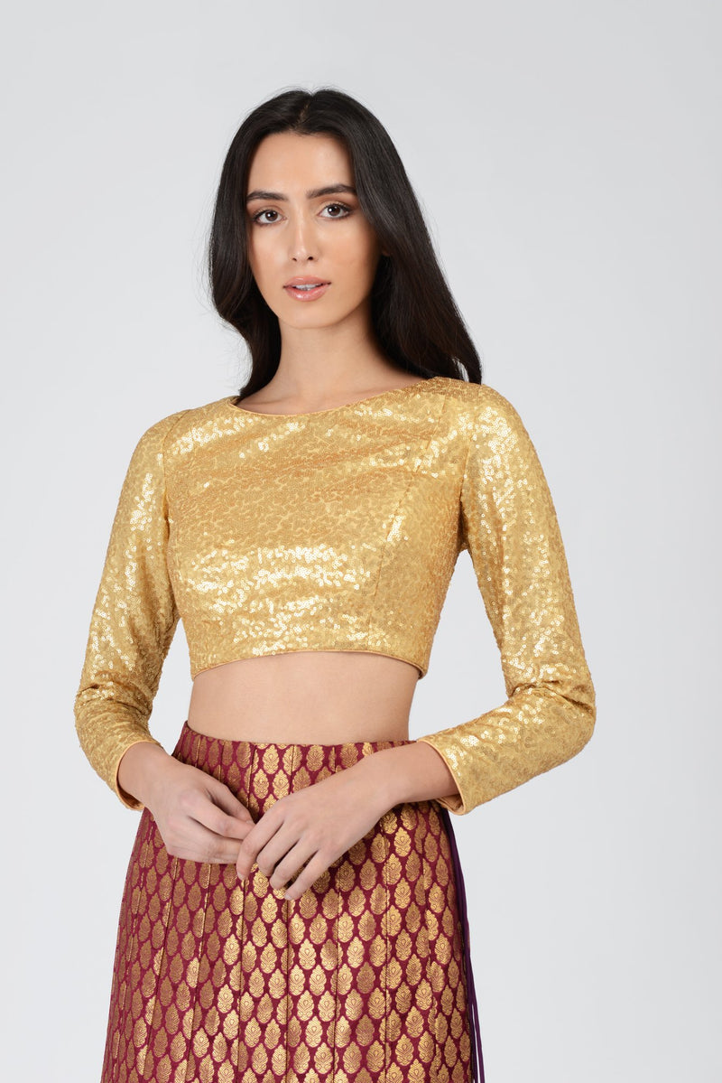 All Over Sequin Full Sleeve Blouse | Designer Studio London - ds-london.myshopify.com