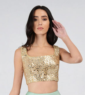 Sleeveless Mirrorwork blouse GOLD | Designer Studio London - ds-london.myshopify.com