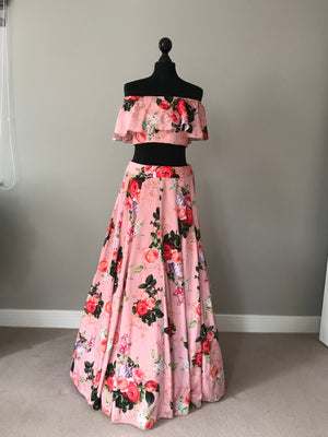 Salmon Floral Off shoulder bardot top Lehenga | Designer Studio London - ds-london.myshopify.com