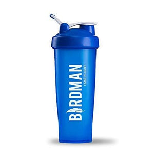 Birdman Blue Protein Shaker Bottle with Slogan