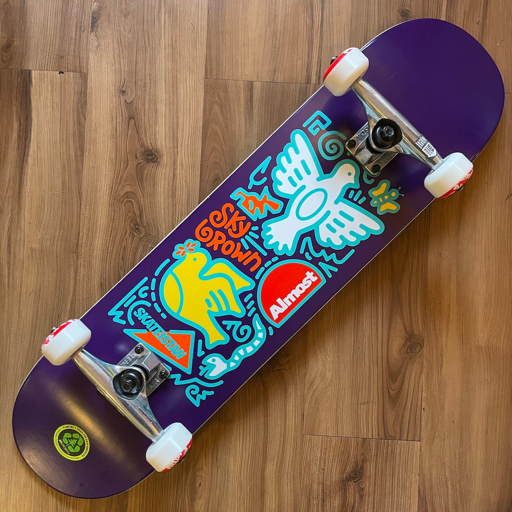 "ALMOST - Skateistan Sky Brown Doodle Purple 7.875"" Complete Skateboard"