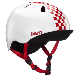 BERN - Nina (Satin Red Checkers) Kids Helmet