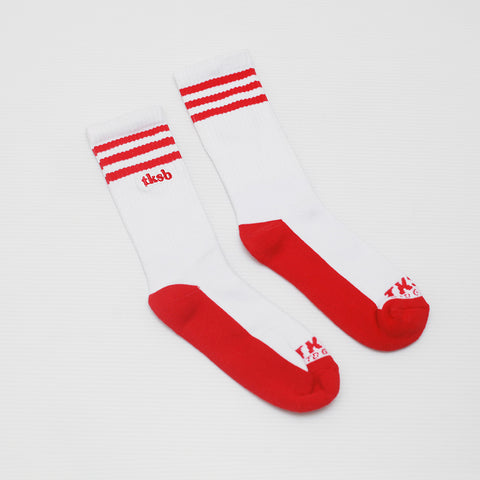 TKSB - 3 Stripes White Socks - Wheel Love Skateshop