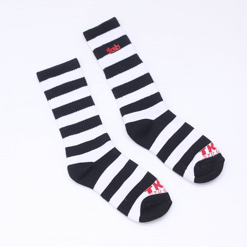 TKSB - Black & White Stripe Socks - Wheel Love Skateshop