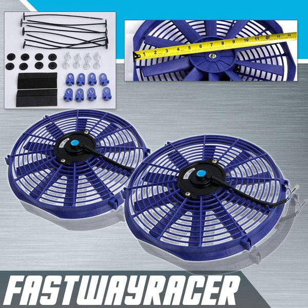 Universal Blue 2X12&#39&#39 Electric Slim/Thin Cooling Fan S Blade