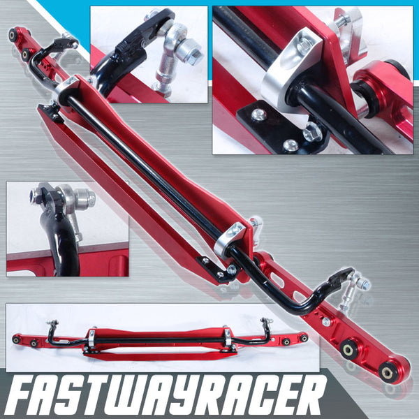 94-01 Acura Integra DC2 Red Aluminum Rear Subframe Brace & Rear Lower Control Arm & Tie Bar & Sway Bar