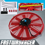 Universal Red 12&#39&#39 Electric Slim/Thin Cooling Fan S Blade
