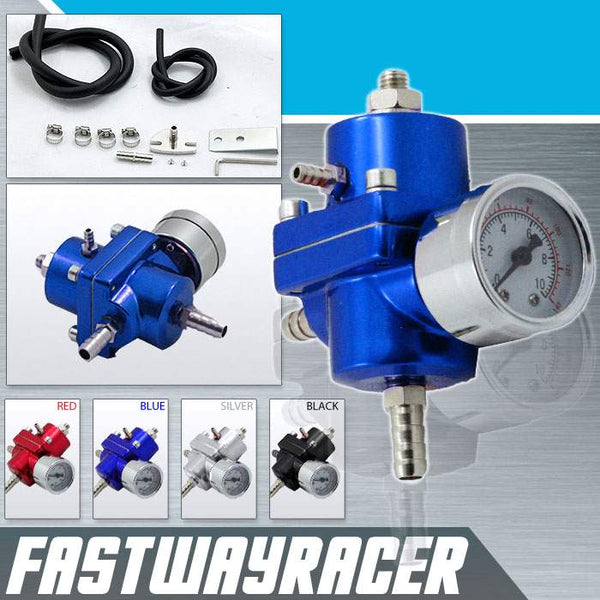 Universal 0-140 PSI Blue Fuel Pressure Regulator with Gauge