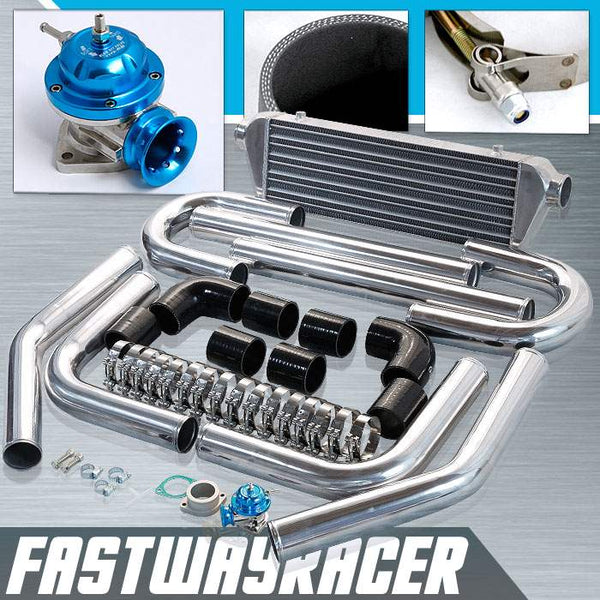 Universal Black 2.5&#39&#39 FMIC Intercooler Piping Kit & Blue Type-RS Turbo Blow Off Valve Bov