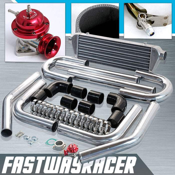 Universal Black 2.5&#39&#39 FMIC Intercooler Piping Kit & Red Type-RS Turbo Blow Off Valve Bov