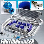 Universal Blue 2.5&#39&#39 FMIC Intercooler Piping Kit & Blue Type-RS Turbo Blow Off Valve Bov