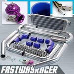 Universal Blue 2.5&#39&#39 FMIC Intercooler Piping Kit & Purple Type-RS Turbo Blow Off Valve Bov