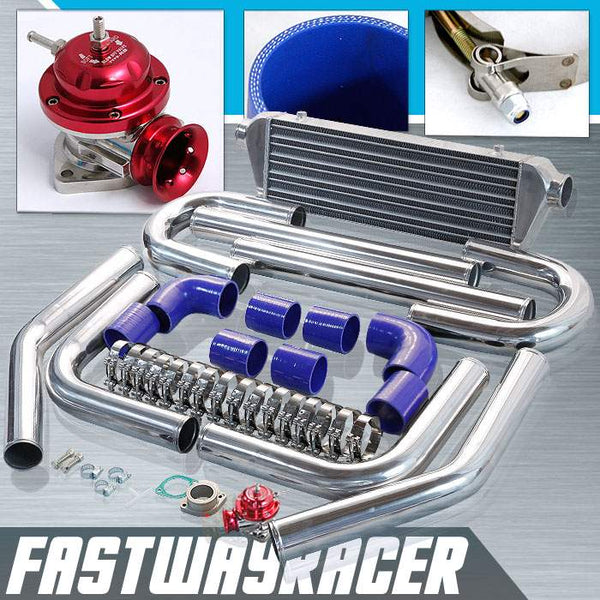 Universal Blue 2.5&#39&#39 FMIC Intercooler Piping Kit & Red Type-RS Turbo Blow Off Valve Bov