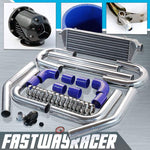 Universal Blue 2.5&#39&#39 FMIC Intercooler Piping Kit & Black SSQV Turbo Blow Off Valve Bov
