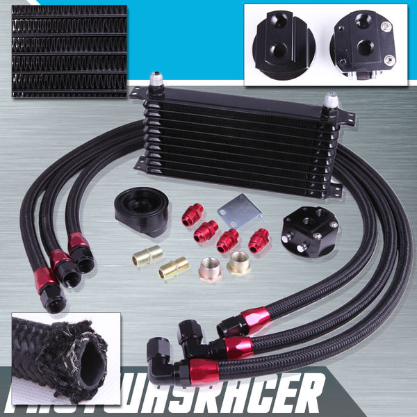 Universal 10 Rows Oil Cooler Kit & Oil Relocation Kit