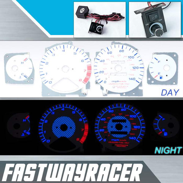 96-97 Honda Accord 4Cyl White and Blue Reverse Glow Gauge