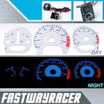 98-02 Honda Accord 4Cyl Automatic White and Blue Reverse Glow Gauge