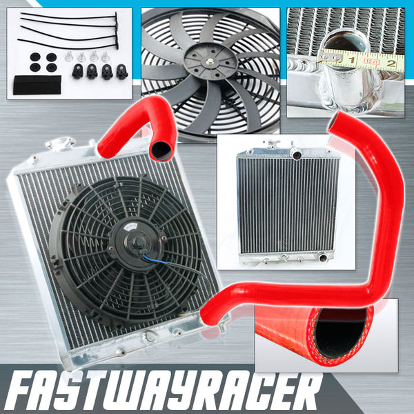 92-00 Honda Civic B16/B18 Manual 2 Rows Aluminum Radiator & 12&#39&#39 Cooling Fan & Red Radiator Hose Kit