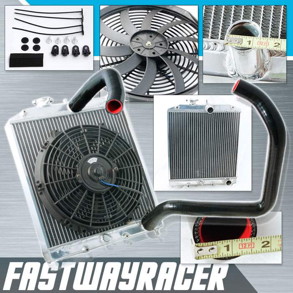93-97 Honda Del Sol B16/B18 Manual 2 Rows Aluminum Radiator & 12&#39&#39 Cooling Fan & Black Radiator Hose Kit