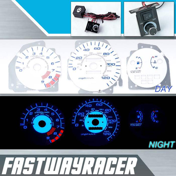 92-95 Honda Civic LX/EX/SI Manual White and Blue Reverse Glow Gauge
