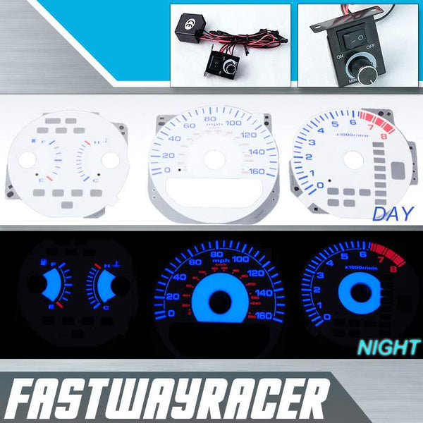 99-03 Acura TL V6 White and Blue Reverse Glow Gauge