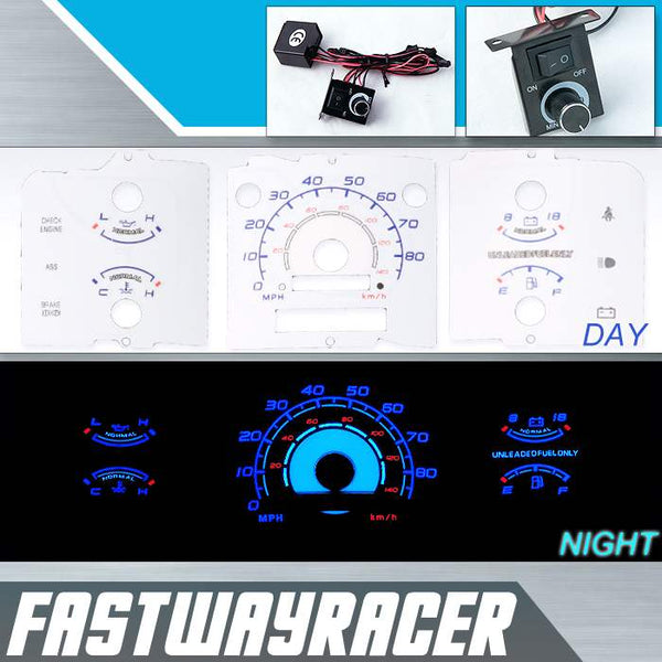 92-96 Ford F150 w/o Tachometer White and Blue Reverse Glow Gauge