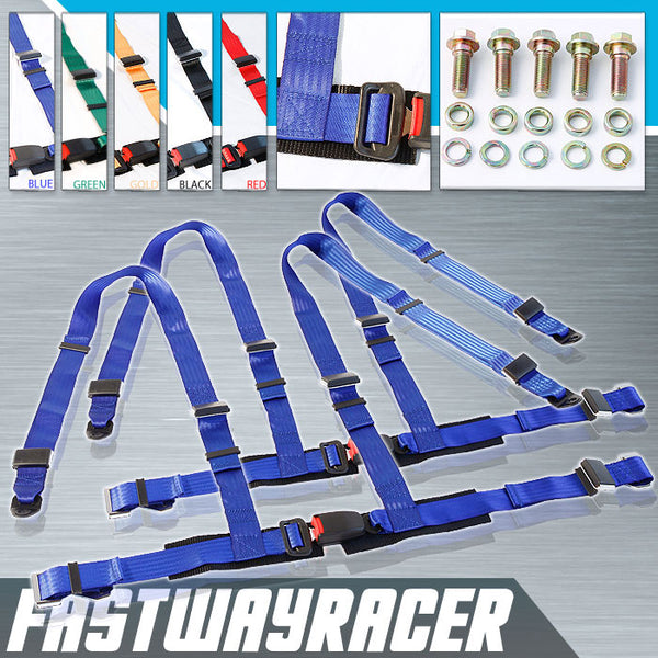 Universal Pair Blue 4 Point Racing Seat Belts Harness